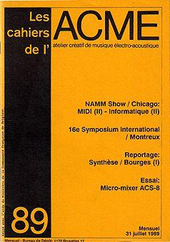 Couverture Cahiers de l'ACME n° 89