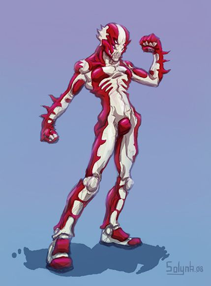 red and white demon with four eyes, ninja warrior, seaman, Japanese super hero, Guyver style, battle suit, speed drawing