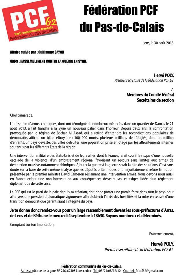 Courrier PCF 62 rassemblement Syrie 04-09-13