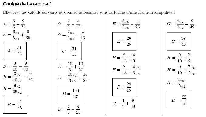 Fractions additions soustractions multiplications exercices soustractions de fraction multiplications altavistaventures Choice Image