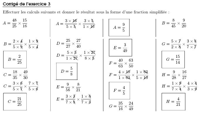 Exercice de fractions 4eme - Matou matheux table de multiplication ...