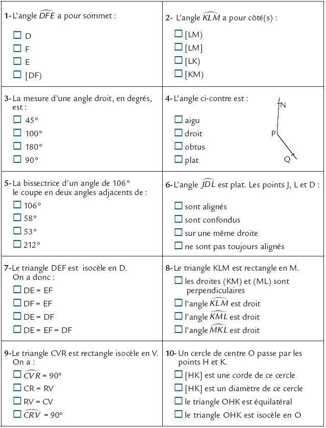 Questionnaire Droite règle et équerre - CNED