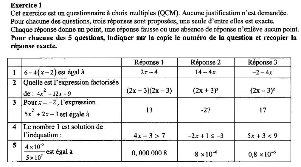 Geombre - sujet de brevet 2009 - hors de France