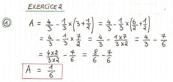 Priorités de calcul et fractions