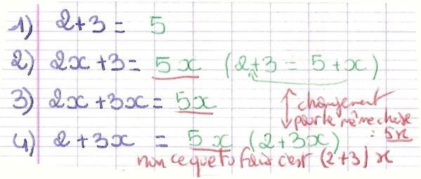 copie additions simples - calcul littéral