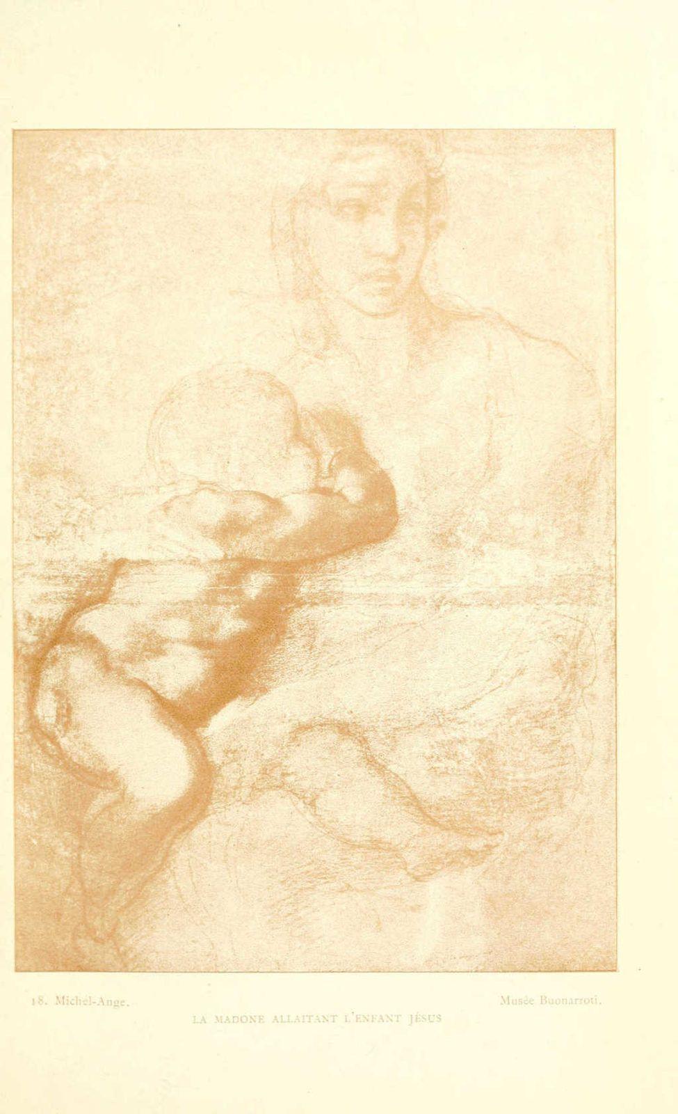Dessin de Michel-ange : la madone allaitant l'enfant jesus