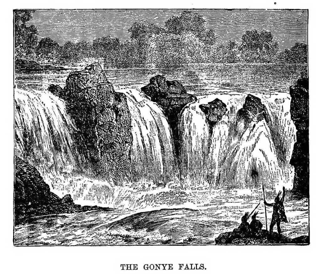 Dessin expédition Stanley en Afrique : les chutes de gonye sur le zambese