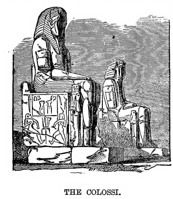 Dessin expédition Stanley en Afrique : les colosses d'egypte