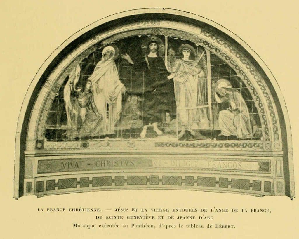 Vie de Jeanne d'Arc : jesus et la vierge avec jeanne d'arc - mosaique au pantheon