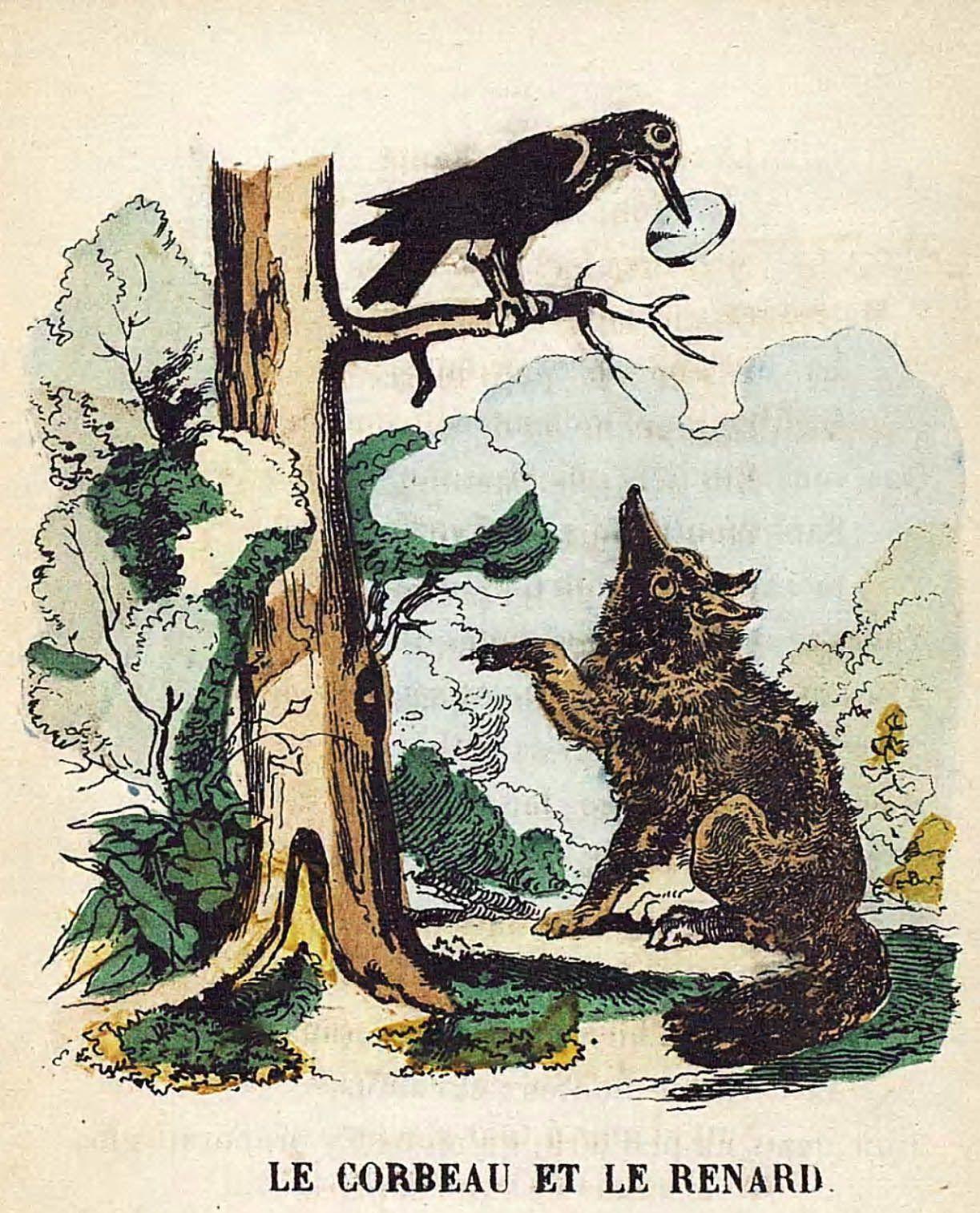 Illustration-dessin-image couleur fable de La Fontaine : le corbeau et le renard