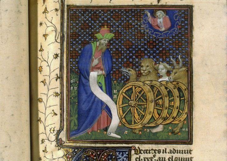 Vision char de dieu - Enluminure - Guiard des Moulins, Bible