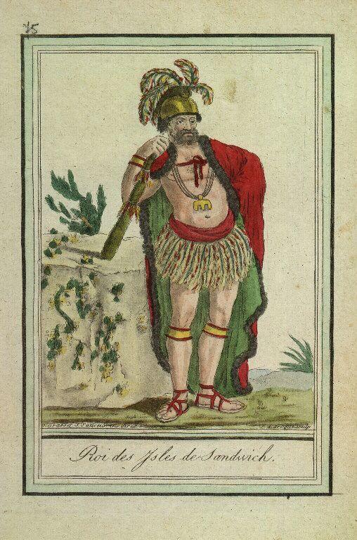 Gravure d'indigènes d'Amérique : Roi des îles Sandwich