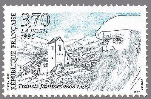 Timbre de France : 2983 portrait francis jammes ecrivain celebre