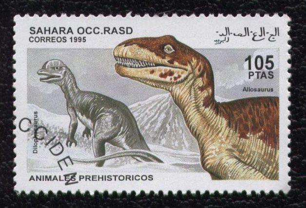 timbre-sahara-occidental-animauxi-prehistoriques-allosaurus