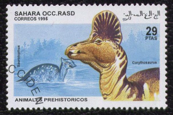 timbre-sahara-occidental-animauxi-prehistoriques-corythosau