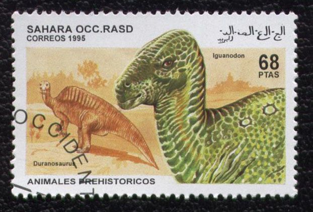timbre-sahara-occidental-animauxi-prehistoriques-iguanodon