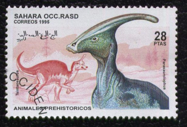 timbre-sahara-occidental-animauxi-prehistoriques-parasaurol