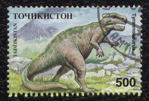 timbre-tadzikistan-animaux-dinosaure-tyrannosaurus