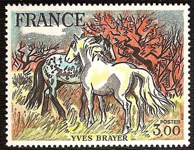 Timbre nature : chevaux timbre france