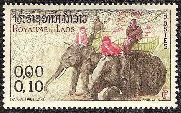 Timbre nature : elephants cornacs laos