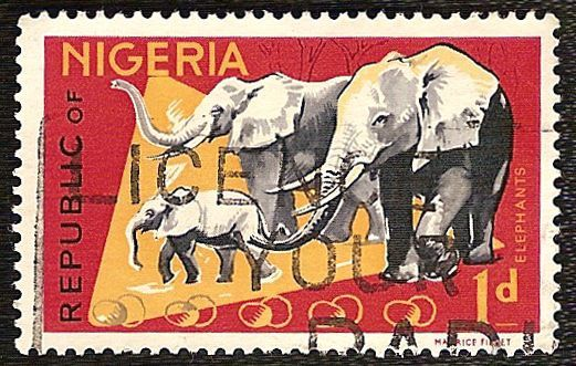 Timbre nature : elephants famille timbre nigeria