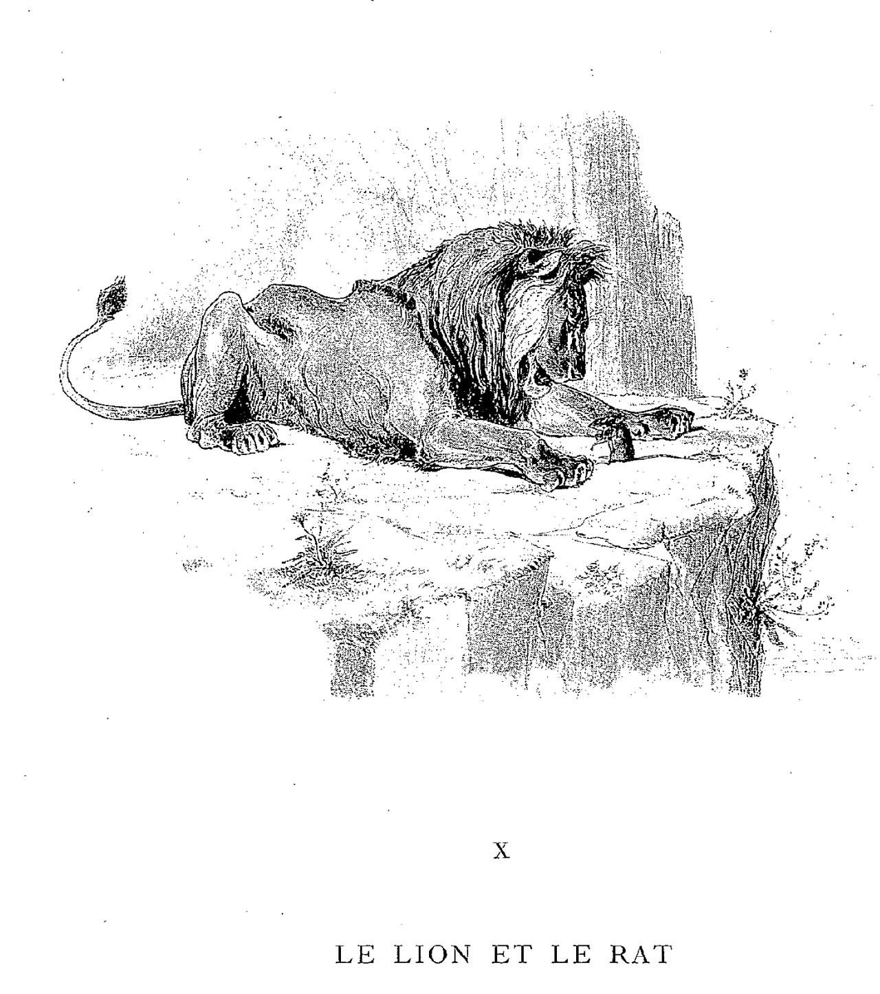 Fable de la fontaine - Dessin le lion et le rat ...