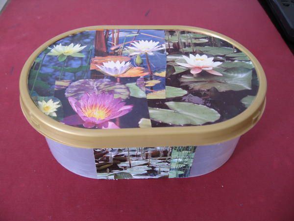 box decorated with flower pictures