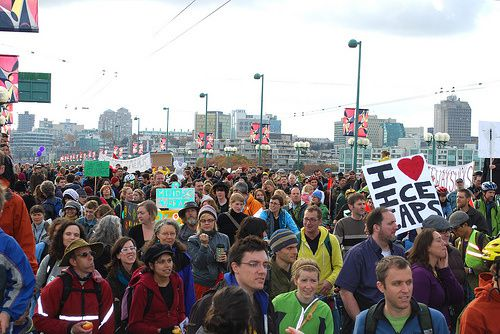 International Day of Climate Action on Cambie Bridge