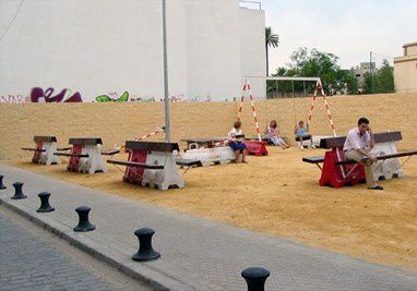 vacant lot converted into a play area