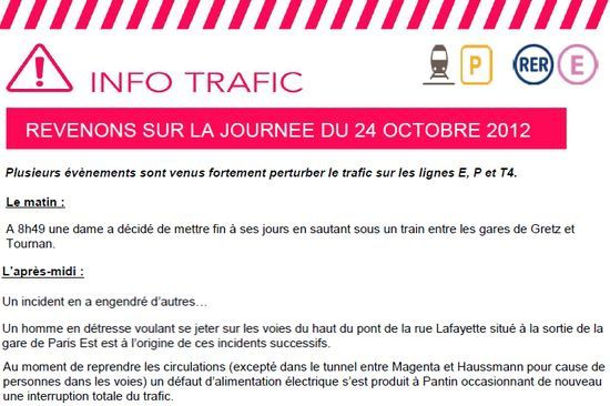 Perturbations des trains du RER E mercrdi 24 octobre 2012