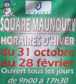 Photo Raincy-Nono : horaires d'hiver Square Maunoury