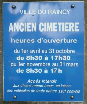 Le Raincy horaires du cimetiere