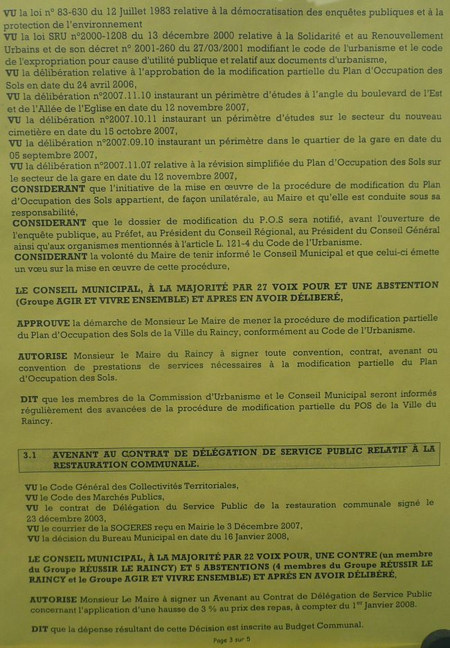 Le Raincy conseil municipal