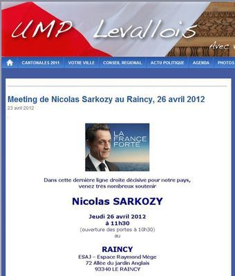 meeting de Nicolas Sarkozy au Raincy