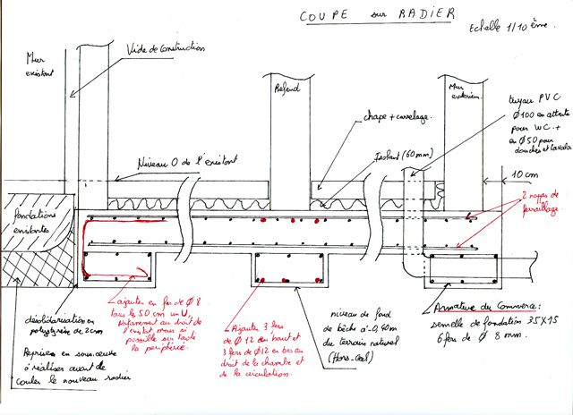 Plans du radier des b ches et murs de refend radier for Calcul metre carre carrelage
