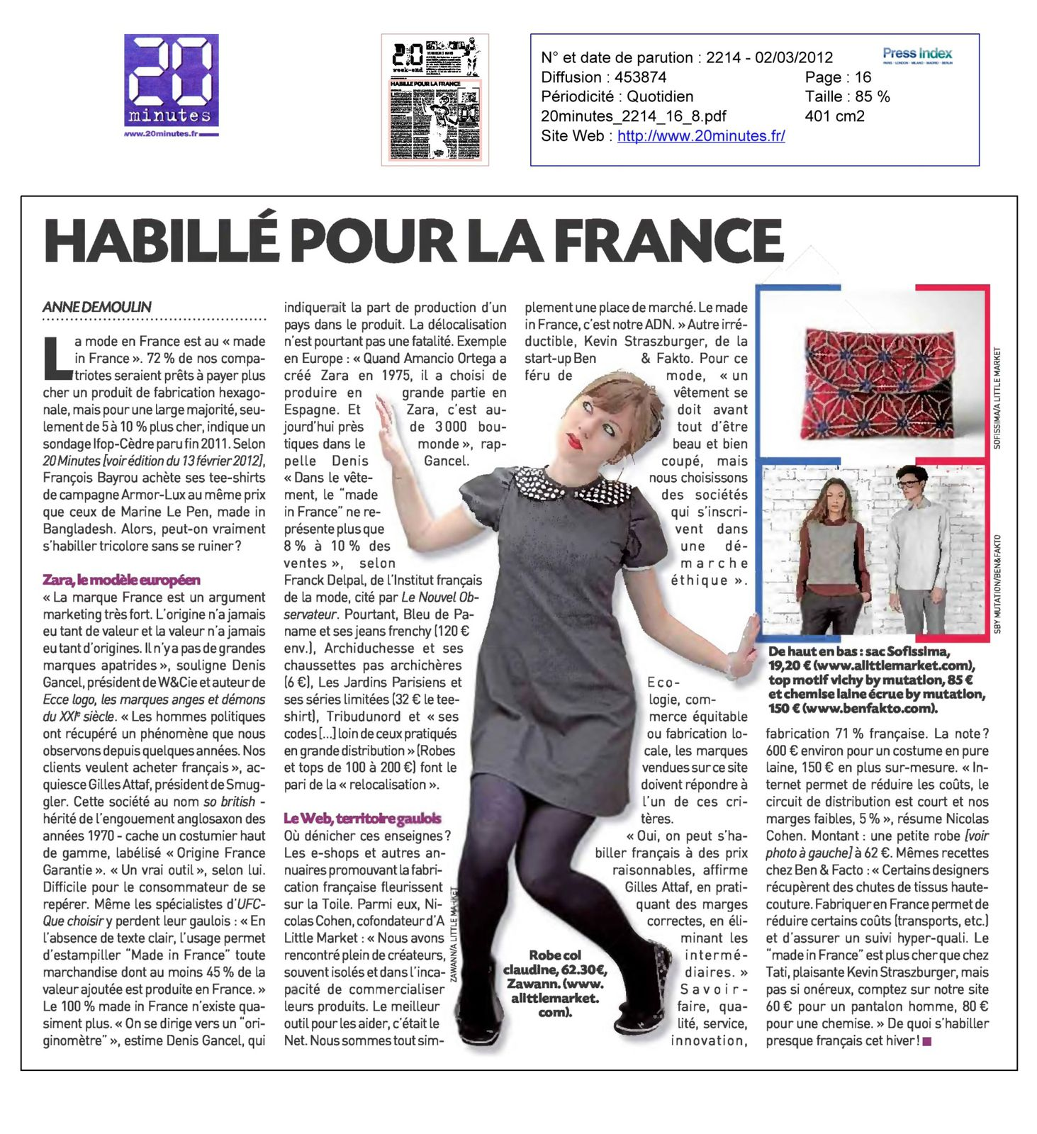 Zawann cr ateur de mode lille parution presse dans le journal 20 minute - Le journal de la mode ...