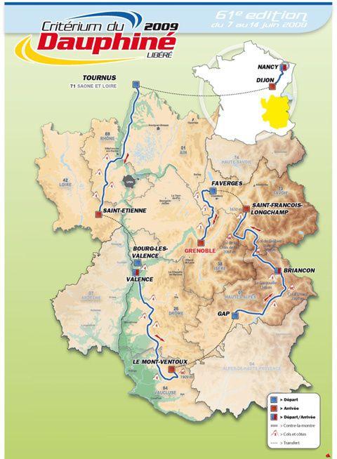 Parcours du Critérium du Dauphiné Libéré 2009