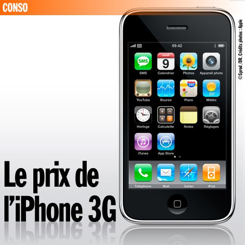 le prix de l 39 iphone 3g sansure fr. Black Bedroom Furniture Sets. Home Design Ideas