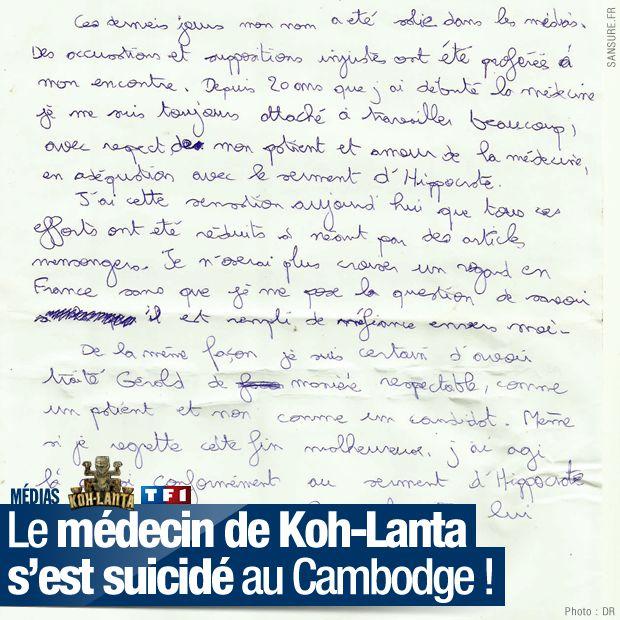 Le m decin de koh lanta s 39 est suicid au cambodge sansure fr - Lettre de motivation koh lanta ...
