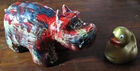 hippopotame en céramique