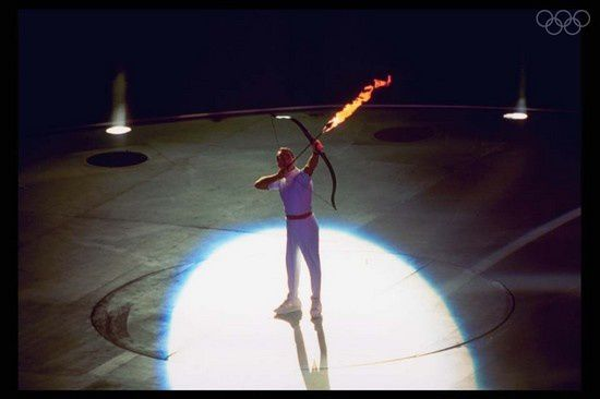 archer rebollo 1992 barcelone flamme olympique