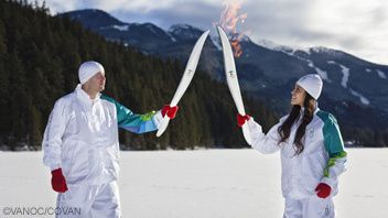 photo flamme olympique neige