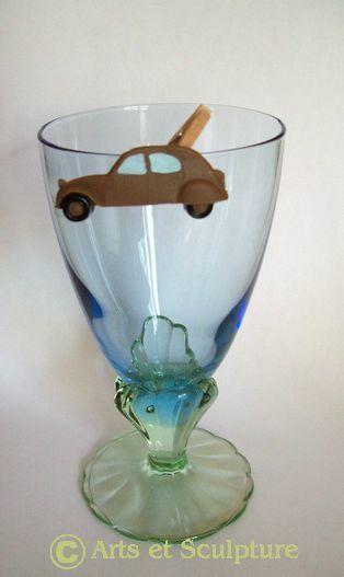 mini pince déco de verre personnalisée 2CV - Arts et Sculpture: sculpteur, artisan d'art
