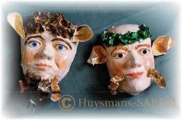 masques en papier mâché, elfe et faune - Arts et sculpture: sculpteur contemporain