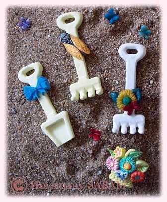 déco de fête personnalisée petite pelle râteau jardinage - Arts et Sculpture: sculptrice, artisan d'art