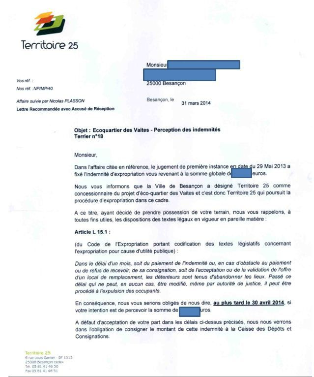 territoire 25 courrier 1 page 1A