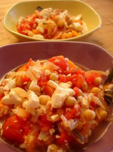 Casserole aux tomates, carottes, pois chiches et tofu soyeux