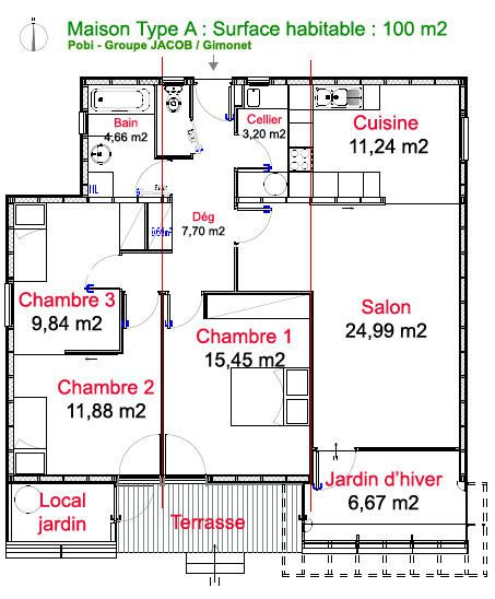 Plan maison 4 chambres 130m2 for Maison californienne plan