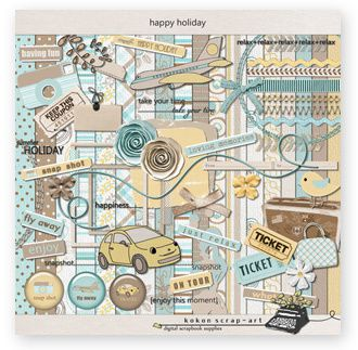 kokon scrap art kit happy holiday
