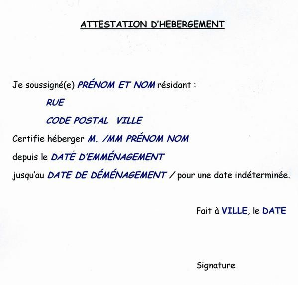 attestation dh233bergement doc exemple et